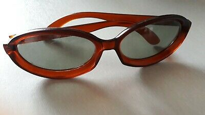 Vintage 1950s 1960s Polaroid Brown Oval Plastic Sunglasses Made in Holland
