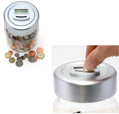 Jumbo Digital Money Box Coin Counter Plastic Money Counting Jar LCD Display New