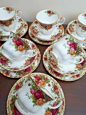 Royal Albert Old Country Roses Set of 6 Afternoon Tea Trios 1st quality 1962 VGC