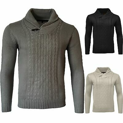 Mens Shawl Neck Sweatshirt Sweater Funnel Knitted Pullover Long Sleeve Jumper