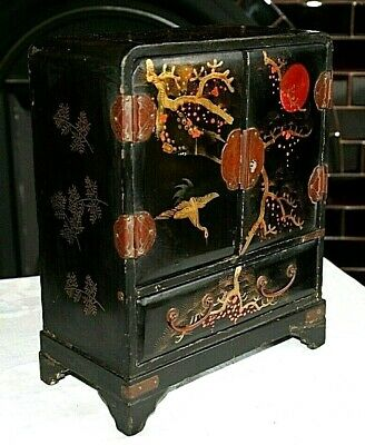 An Antique Japanese Meiji Lacquered Jewellery Cabinet, Slight Restoration