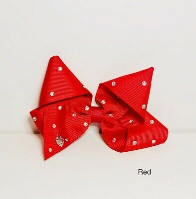"Red Large Hair Bow - 5"" - Handmade With Gems - Sparkly Fashion Dance Clip In"