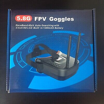 """5.8G FPV Goggles Raceband 40ch Auto-Searching with 3"""" HD LCD Built-in 1200mAh"""
