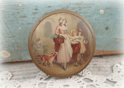 antique Yardley London powder compact with lithograph top cover - STUNNING!