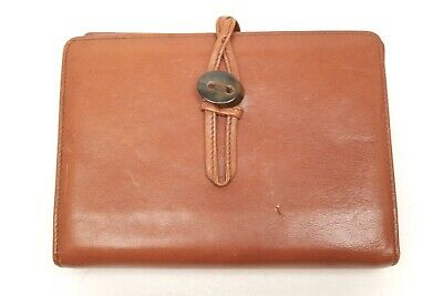 VTG Italian Leather Day Planner Organizer Horn Shell Button 6 Ring Binder Italy