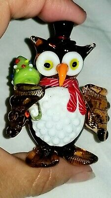 Vintage Collectable Blown Glass Christmas Owl Brown White Creature Holding Tree