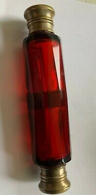 Antique Victorian Double Ended Scent Bottle- Red Glass