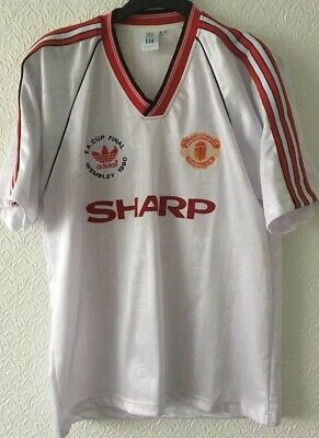 Manchester United Adidas Reproduction 1990 FA Cup Final White Away Shirt L Rare
