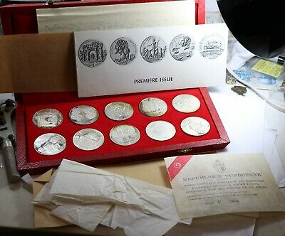 1969 Tunisia Tunisienne Franklin Mint 10-Coin Proof Silver Set Box & COA