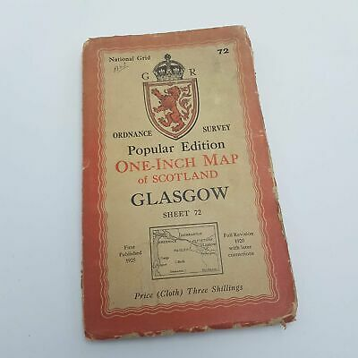 Vintage Ordnance Survey One Inch Map of Scotland GLASGOW Sheet 72 Cloth