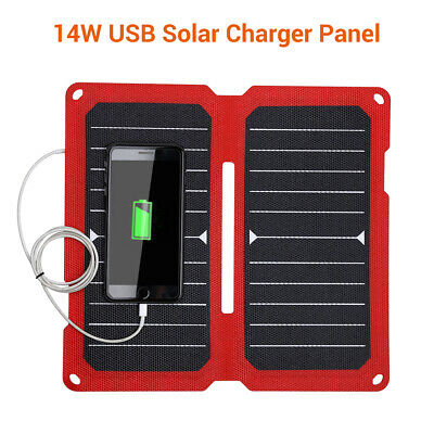 14W 5V 2.8A Solar Panel Charger with USB for Smartphone Camera Cycling Climbing