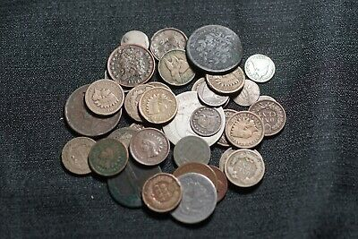 Lot of 38 Low Grade Type Coins Dime Large Cent Nickel 3C Half Dime Coins