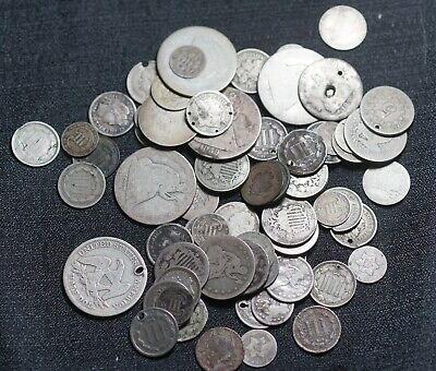 Lot of 73 Low Grade Type Coins Half Dollar Dime 3C Nickel Seated Coins