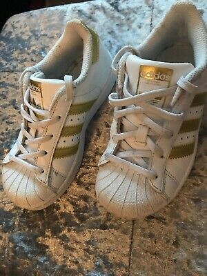 GIRLSWOMEN'S ADIDAS SUPERSTAR Trainers, White, Leather, laces, size UK 4 EU 37