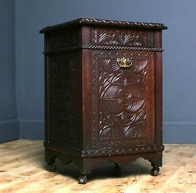 Attractive Small Antique Victorian Carved Mahogany Side Cabinet Filing Cupboard