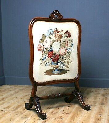 Attractive Antique Victorian Tapestry Carved Rosewood Fire Screen