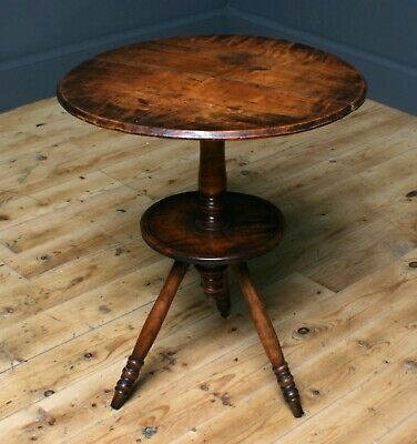 Antique Victorian Cherrywood Pedestal Occasional Side Country Table, Inscription