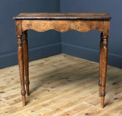 Attractive Small Rustic Antique Carved Pine Hall Side Table