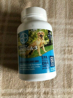 NEW Bayer Free Form Omega 3 Fish Oil Snip Tips Gel Caps 60 Medium Large  Dogs