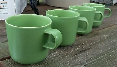 Set of 4 Hogana's Keramiks NILSSON Green Coffee Cups Mugs Sweden