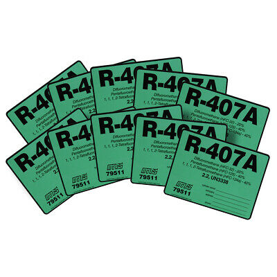 R-407A / R407A HFC-32  HFC-125  HFC-134a Refrigerant Label # 79511 Pack of (10)