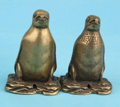 2 Unique Chinese Brass Hand-Cast Penguin Sculpture Cute Gift Collec Old
