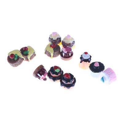 5pcs Dessert 3D Resin VanillaChocolates Cakes Miniature food Dollhouse Decor ME