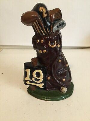 Vintage 19th Hole Golf Bag Cast Iron Door Stop Doorstop/Bookend