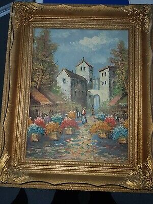 Antique Vintage Impressionist Oil Painting Spanish Cityscape Street Scene Signed