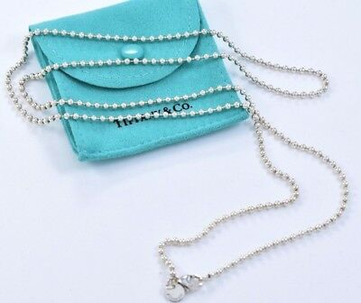 """Tiffany & Co Sterling Silver Bead Huge Chain XL Necklace 34.5"""" w/ Pouch Dogtag"""