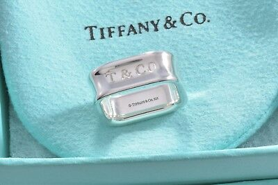 Tiffany & Co 1837 Sterling Silver Square Wide Band Ring Size 5.5 w/ Pouch RARE