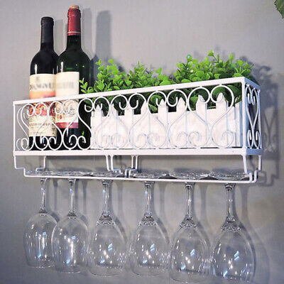 Wall Mounted Iron Wine Rack Bottle Champagne ^Glass Holder Shelves Bar AccessCU
