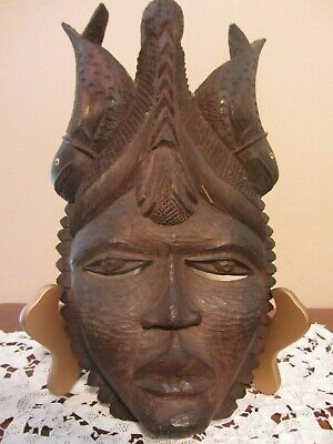 Vintage African Intricately Carved Prince W/Fish Wood Mask ~Ebony? ~ Tribal Art
