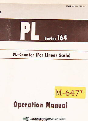 Mitutoyo PL Series 164, PL Counter Scale Operations Manual