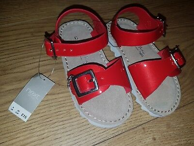 Next Girls Red Shoes Beach Holiday Sandals UK infant 6 (EUR 23) NEW Kids Summer