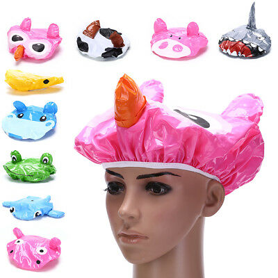 Funny Cartoon Animal Shower Cap Hat Bath Waterproof Kids Travel Hair ProtectPM