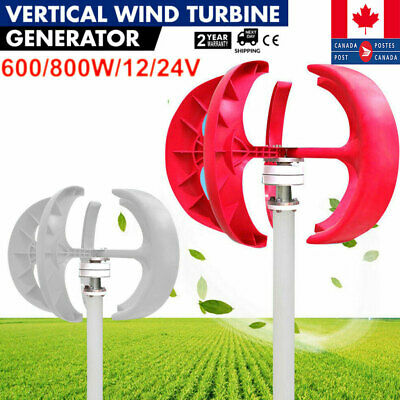 800W 12V/24V Lanterns 5 Blades Wind Turbine Generators Vertical Axis+Controller