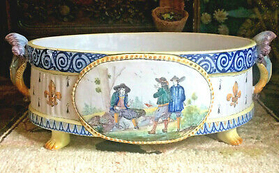 Rare Antique French Quimper Majolica Faience Jardiniere! Marked Hb Only, 19Th C.