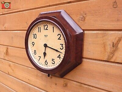 Vintage Smith Sectric Octagonal Wall Clock, Bakelite. Restored Updated No Wires!
