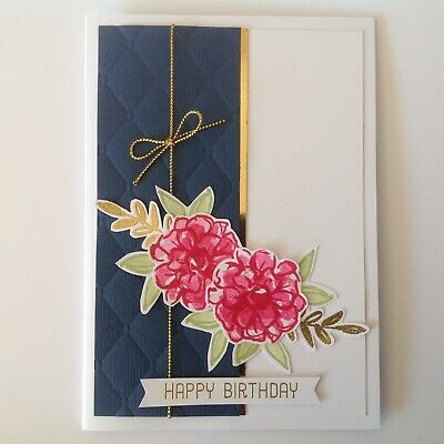 Handmade Birthday card: Delightful Dahlias with pink and gold.