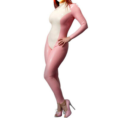 100% Latex Gummi Pink and White Catsuit tigth Overall Zentai bodysuit 0.4mmS-XXL