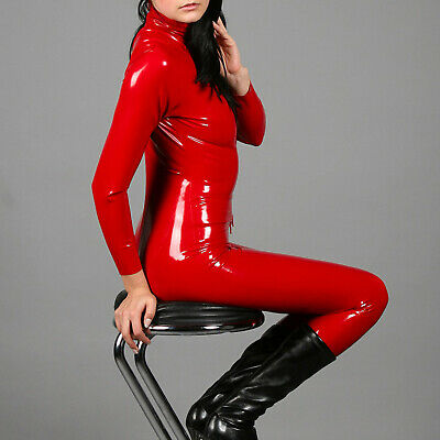 100% Latex Gummi Red Catsuit Tigth Overall Zentai Suit full cover 0.4mm S-XXL