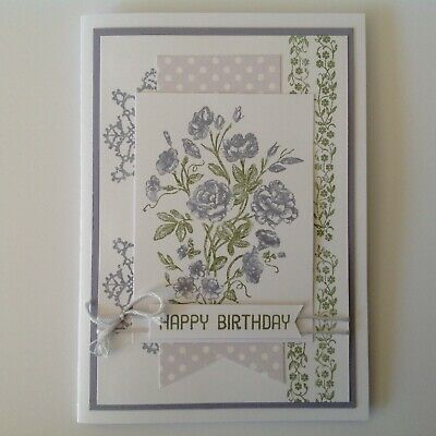 Hand made Birthday card - 'Soft Floral' with mauve.