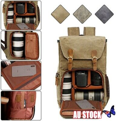 Canvas DSLR SLR Camera Backpack Rucksack Waterproof Travel Laptop Lens Case Bags