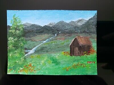"Mountain Painting Landscape Mayra MTV ACEO original paintings acrylic 2.5""x3.5"""
