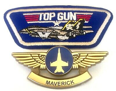 Top Gun Movie Maverick Fighter Pilot Costume Wings Lapel Pin Badges & Patch