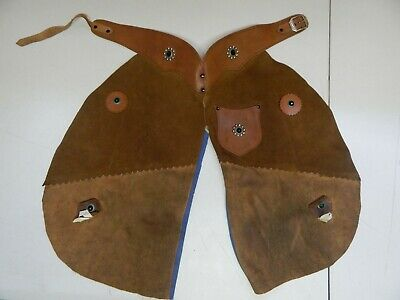 Vintage Kids Leather Chaps Childs Cowboy Cowgirl Brown Riding Costume Western