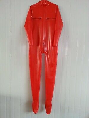 100%Latex Rubber Catsuit  Full Cover Red tigth stock bodysuit Zipper 0.4mm S-XXL
