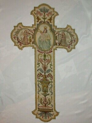 02F3 Antique Orphrey of Chasuble Priest Embroidery Mother with and CHILD Autel