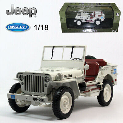 WELLY 1:18 Diecast Metal Model Car Jeep Willys Military 1/4 Ton TRUCK UN Version